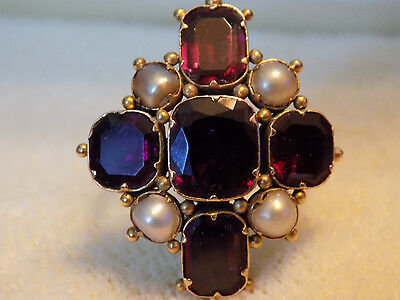 Antique Georgian 1700's Large Amethyst & Seedpearl 15K Gold Ring Sz 5.25