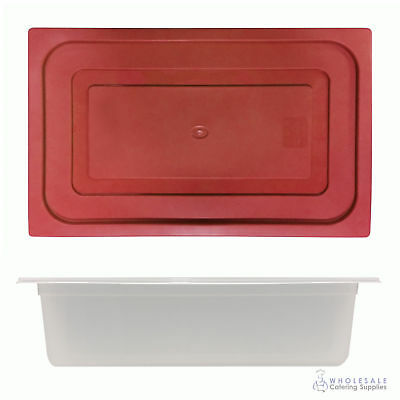 12x Food Pan with Red Lid 1/1 GN 150mm Full Size Polypropylene Gastronorm