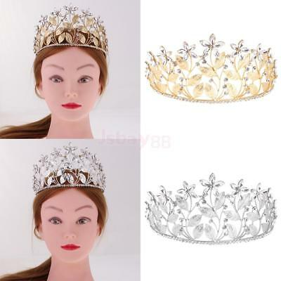 Shiny Leaf Flower Bridal Princess Crystal Hair Tiara Crown Veil Wedding Headband
