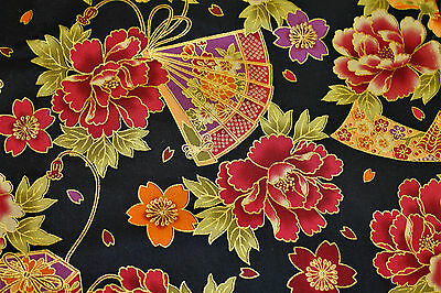 Fabric Japanese Flowers Fans Gold on Black Cotton Fat Quarter Quilting Material