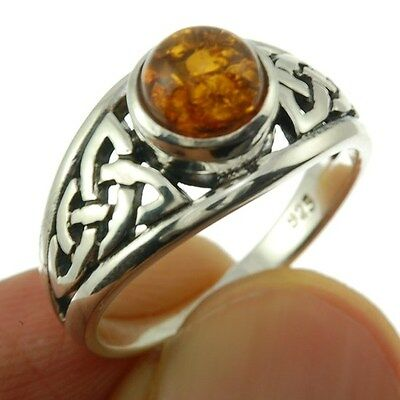 Celtic Knot Stone Silver Ring, Mix-US-Size, w Baltic Amber, 925 Solid Silver,