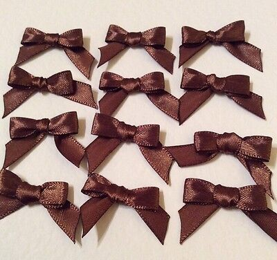 30 Chocolate Brown 10mm Ribbon bows 🎀 for card making/scrap booking UK charity