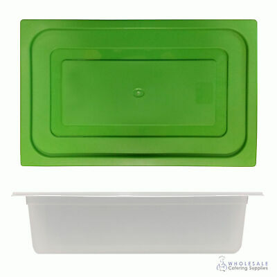 12x Food Pan with Green Lid 1/1 GN 150mm Full Size Polypropylene Gastronorm