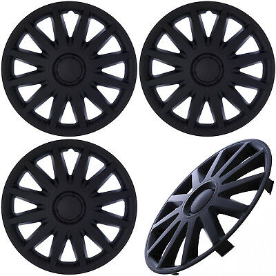 "(SET of 4) Hub Caps ABS BLACK MATTE 14"" Inch for Steel Wheel Cover Cap Covers"