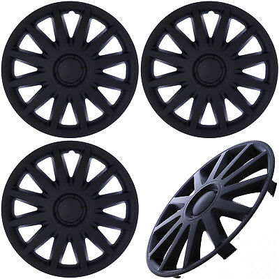 "4PC Set of 14"" inch Matte Black Hub Caps for Steel Wheel Cover Center Cap Covers"