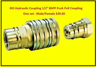 "½"" Bspp Iso Hydraulic Quick Connect Push Pull Sleeve, Male And Female Couplings"