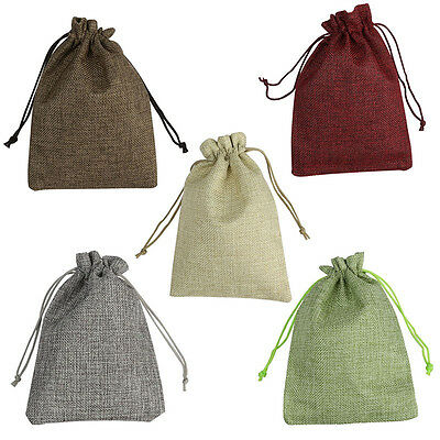 10/30/50pcs Linen Pouch Drawstring Jewelry Wedding Gift Favor Bags Sack S/M/L