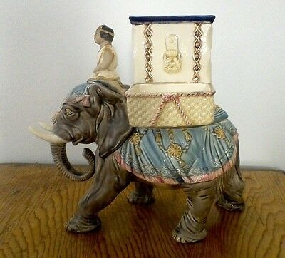 Antique Tobacco Jar Majolica Humidor marked EICHWALD 2311 Bohemia 1890 Elephant