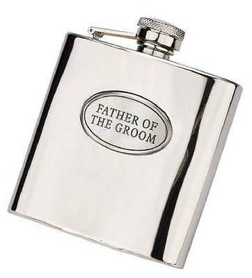 Father Of The Groom Hip Flask Stainless Steel & Pewter 6oz