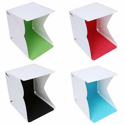 Mini Portable Lightbox Photography Studio Light Room 4 Backdrop LED Kit Cube Box