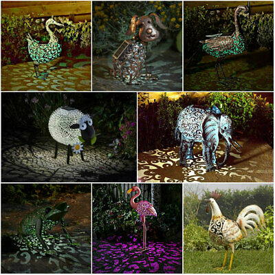 Solar Powered Metal Garden Animal Statues Ornament Farmyard Animal Sculpture