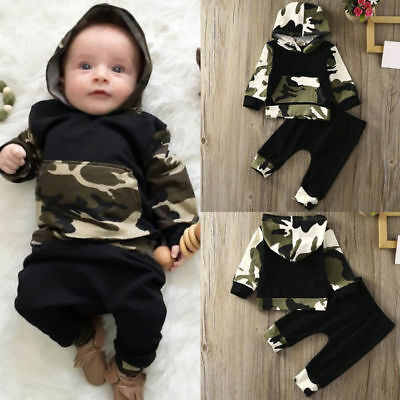 Toddler Baby Boys Long Sleeve Camouflage Hooded Tops + Pants Outfits Set Clothes