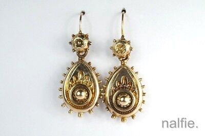 V PRETTY ANTIQUE LATE VICTORIAN ENGLISH 9ct GOLD EARRINGS c1890