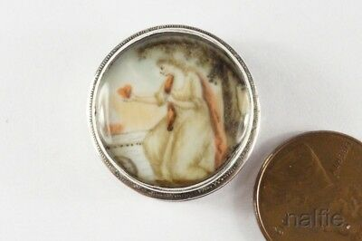 ANTIQUE GEORGIAN ENGLISH SILVER SEPIA HEART & FLAME TOKEN / PILL BOX c1780