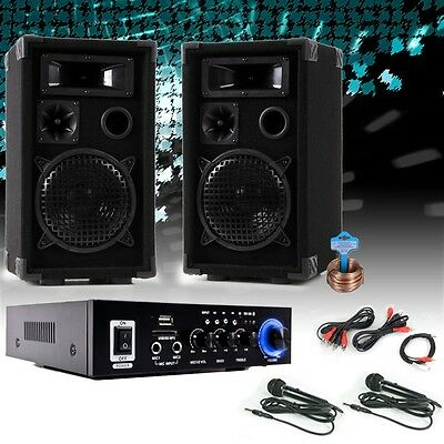 PA System Karaoke Party Musikanlage USB SD MP3 Bluetooth Endstufe Boxen 2x Mikro