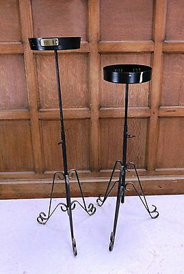 Two Adjustable Black Painted Steel Plant Stands