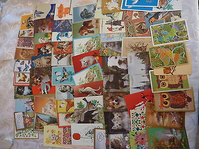 Large Lot #4 Horses Birds Dogs Etc Variety Genuine Vintage Swap Playing Cards