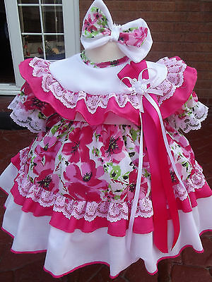 Dream Baby Girls Cerise Floral Dress & Headband 0-18 Months Or Reborn Dolls
