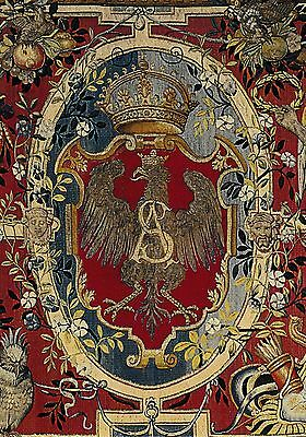 postcard post card POLAND Tapestry Coat of Arms Medieval King monogram #PO11