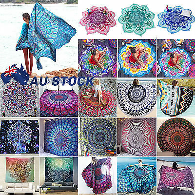 Bohemian Mandala Round Beach Tapestry Hippie Throw Yoga Mat Towel Blanket Indian
