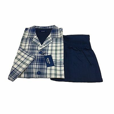 GUASCH man pajamas open with button jacket fantasy trousers blue 100%cotton