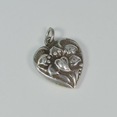 Vintage 1940's LILY REPOUSSE PUFFY HEART Sterling Silver Charm High Relief