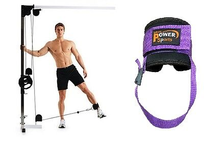 PURPLE OYSTON Ankle Strap Twin D-Ring Gym Cable Attachment Leg Thigh Pulley