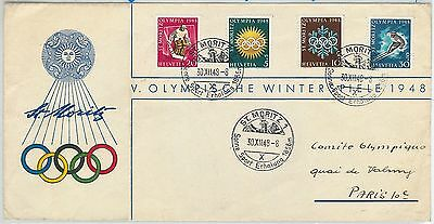 65164 - Switzerland - Postal History - Official Fdc Cover 1948 - Winter Olympics