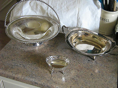 3 Antique / Vintage Silver Plated Epns Basket Tray Bowl Swing Handle Pierced