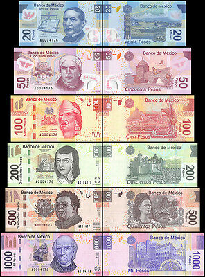 Mexico 20 to 1,000 (1000) Pesos, 2004-2010, P-122T127, UNC,Matching Set #0004176
