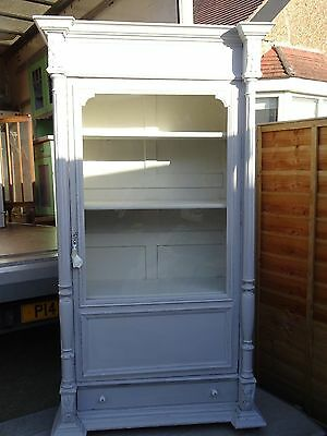 Painted French armoire display cabinet