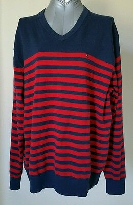 TOMMY HILFIGER Men's Red and Blue Striped Knit V-neck Sweater XL