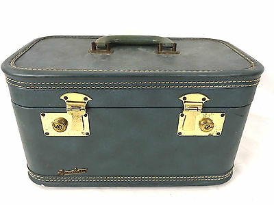 Vintage Train Case Blue Fam-Line Suitcase Small Hard Side Luggage Bag Cosmetics