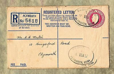 PLYMOUTH Devon REGISTERED LETTER 1937 Fee Paid COVER Envelope STAMP