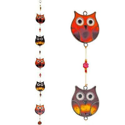New Stained Glass Hanging 5 Owls Orange Yellow Sun Catcher Decoration Sc_01915
