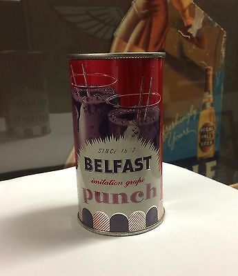 1+ BELFAST grape punch SODA can FLAT top PRE ZIP ACL cap cone sign top GRAPHICS!