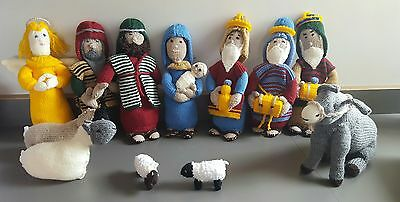 Knitted Christmas Nativity Set with three kings shepherd Donkey sheep