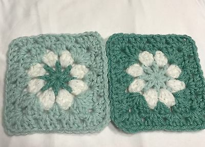 "20 4 1/2"" LIGHT GREEN Hand Crochet DAISY FLOWER GRANNY SQUARES Afghan Blocks"