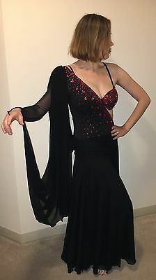 Latin Salsa Ballroom Competition Dress Size M, BLACK, RED STONES