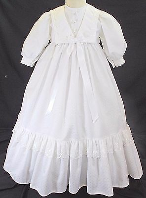 Christening gown dress long traditional ROMANY 0-6 months WHITE BNWOTS