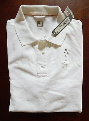 Nwt - Men's Jc Penney White Combed Cotton Polo Shirt Size L