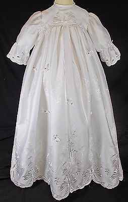 Baby girl christening gown dress ROMANY traditional long diamante 0-6m WHITE
