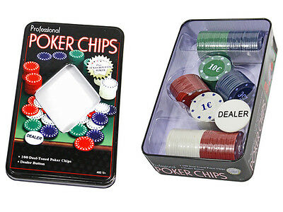 Set Da Poker In Scatola Con 100 Fiches Con Valore In Euro Texas Hold'em dfh