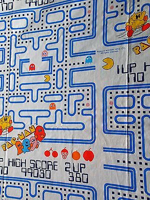 PACMAN Twin Flat BED SHEET Bally Midway Pac Man Ghosts Kids Fabric Vtg 80s