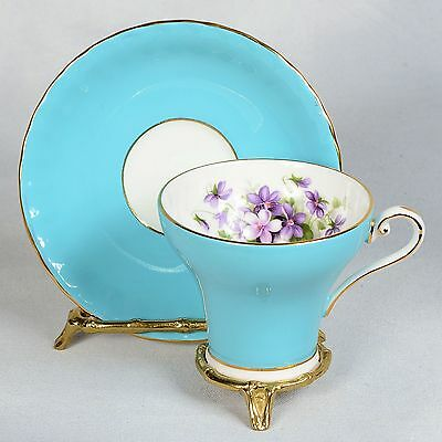 Aynsley Corset Teacup & Saucer - Blue Decorated With Purple Violets Inside Cup