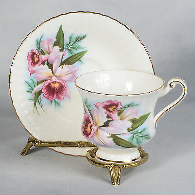 Roslyn Teacup & Saucer  - White Decorated With Pink Flowers