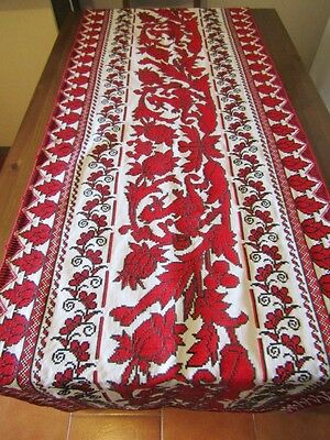 Vintage hand embroidered Hungarian wall hanger, tablecloth  runner  Transylvania