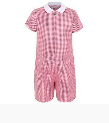 GIRLS SCHOOL UNIFORM Gingham Playsuit Red 4-5,5-6,bnwt