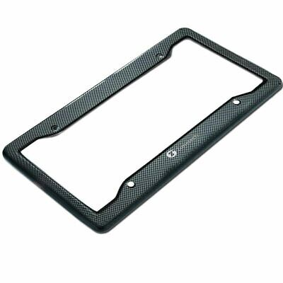 Zone Tech 1x Black Carbon Look License Plate Frame Cover Front & Rear Universal