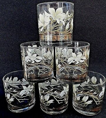 Libbey Calla Lilies Glasses Old Fashioned Calla Lily Set of 6 Gold Embossed
